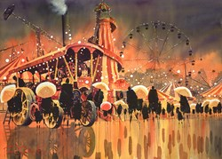 Fairground Attraction by Peter J Rodgers - Original Painting on Paper sized 28x20 inches. Available from Whitewall Galleries